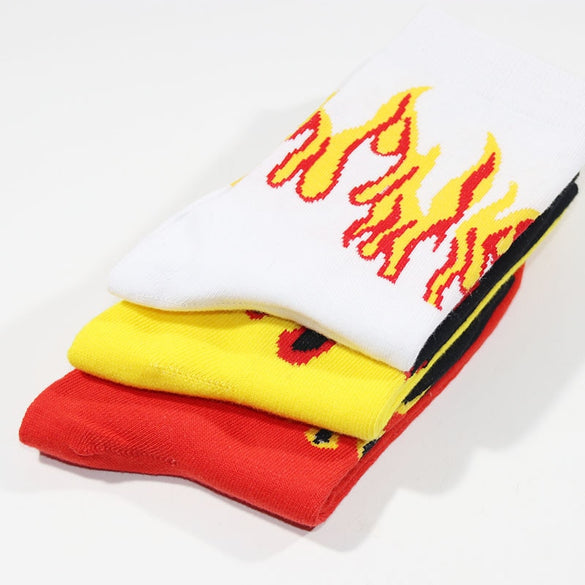 3pcs/lot woman man Hip Hop Fire Crew Socks Red Flame Blaze Power Torch Hot Warmth Street Skateboard Cotton Long Socks
