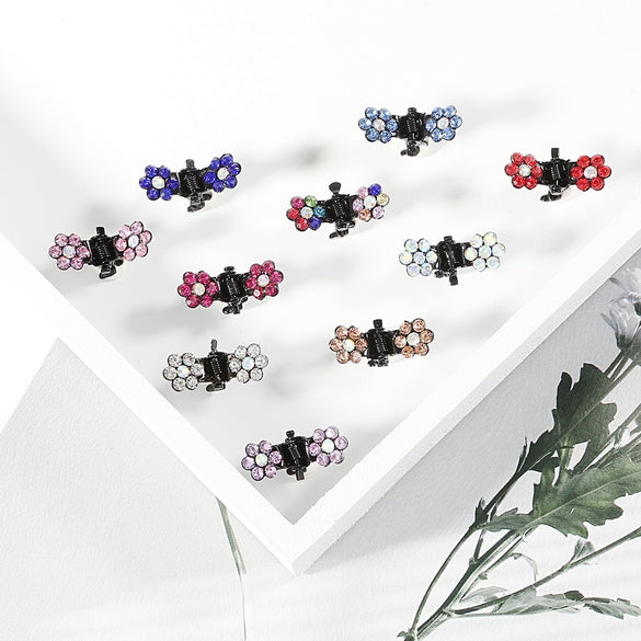 12pcs/pack Crystal Rhinestone Flower Hair Claw Hairpins Hair Accessories Ornaments Hair Clips Hairgrip for Kids Girl