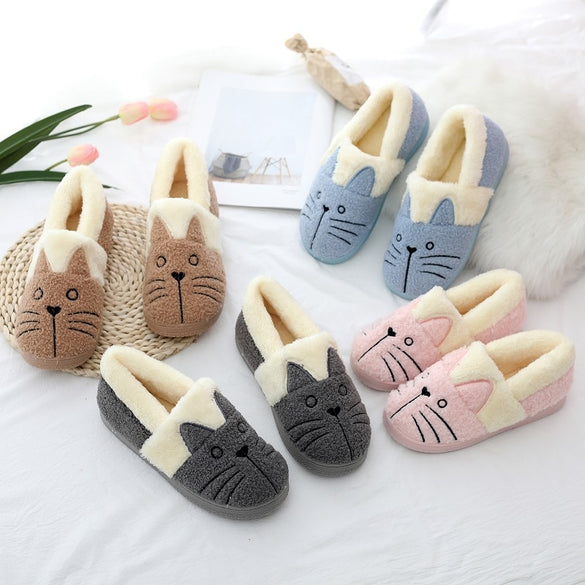 Cute Cat Winter Warm Slippers Women Family Christmas Gift Cotton Shoes For Male And Female Pluch Indoor Slipper Dropshipping