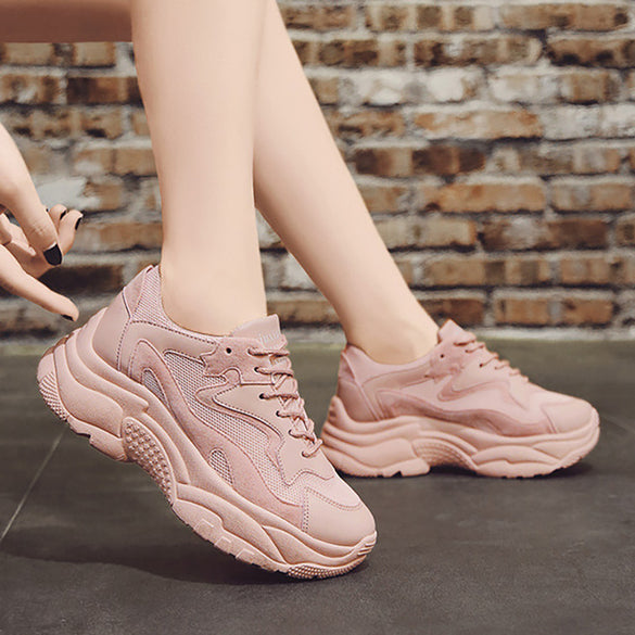 Block Pink Chunky Sneakers
