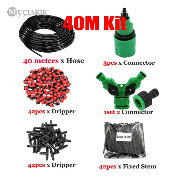MUCIAKIE 50M-5M DIY Drip Irrigation System Automatic Watering Garden Hose Micro Drip Watering Kits with Adjustable Drippers