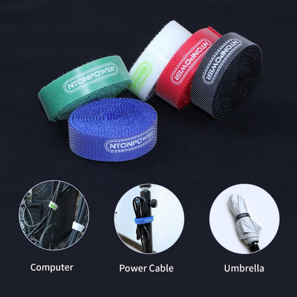 NTONPOWER MC1 5pcs Nylon Cable Winder Ties Wrapped Cord Line Reusable Wire Organizer Management 1.5cmx1M Hook Loop Magic Tape