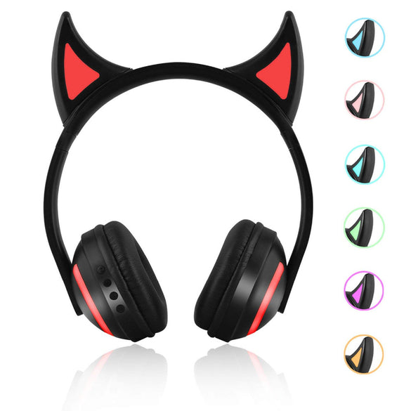 JINSERTA Wireless Bluetooth Cat Ear Headphones Seven kinds LED light Flashing Glowing Cosplay Fancy Cat Earphone gifts