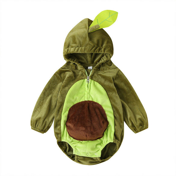6-24M Warm Winter Infant Newborn Baby Boy Girl Rompers Cartoon Avocado Long Sleeve Plush Jumpsuit Autumn Baby Costumes