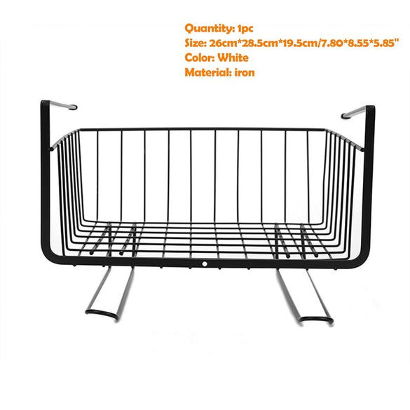 Iron Mesh Shelf Basket Cupboard Cabinet Door Organizer Rack Closet Holders Hanging Under Shelf Storage Basket Rack Organizer new