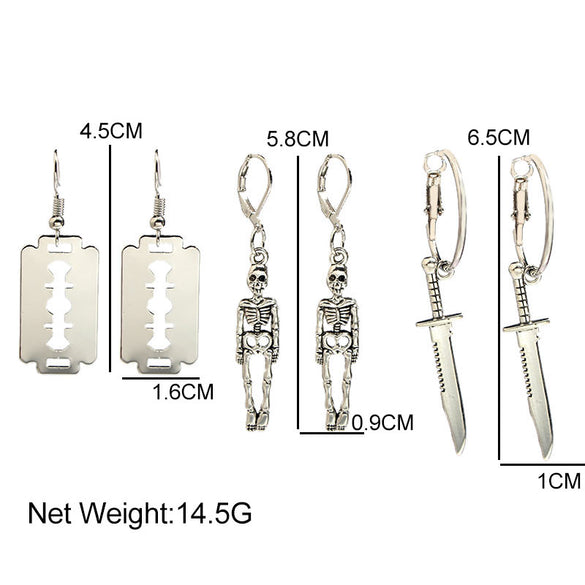 Flatfoosie 3Pair/Set Fashion Punk Skeleton Blade Drop Earrings Sliver Color Retro Small Dangle Earrings Sets Statement Jewelry