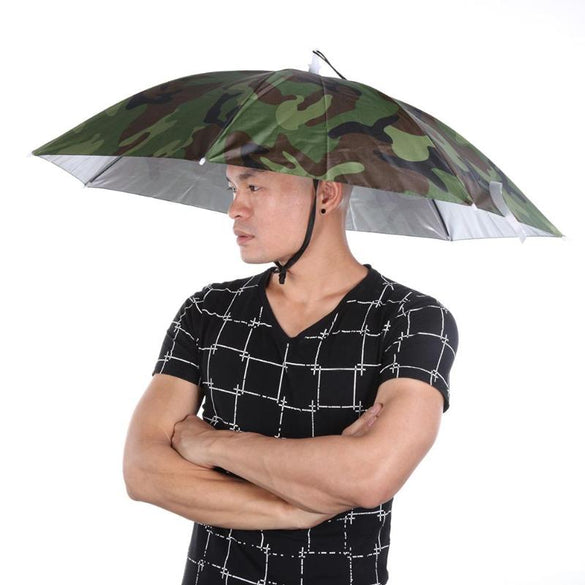 Portable Rain Umbrella Hat Army Green Foldable Outdoor Pesca Sun Shade Waterproof Camping Fishing Headwear Cap Beach Head Hats