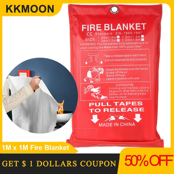 1M x 1M Fire Blanket Fiberglass Fire Flame Retardant Emergency Survival Fire Shelter Safety Cover Fire Emergency Blanket