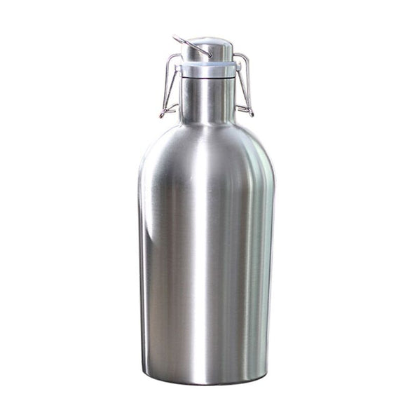 Premium 2L Stainless Steel Homebrew Beer Growler Secure Swing Top Lid Big Capacity beer bottles for outdoor