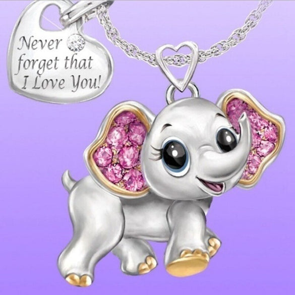 Cute Elephant Animal Pendant Necklace Pink Crystal Zircon Heart Necklaces For Women Chain Choker Jewelry Valentine's Day Gift