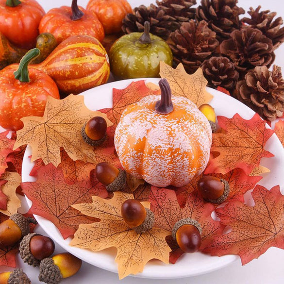 50Pcs/Set Simulation Pumpkin Golden Autumn Pumpkin Halloween Pumpkin Thanksgiving Decoration Pumpkin Props