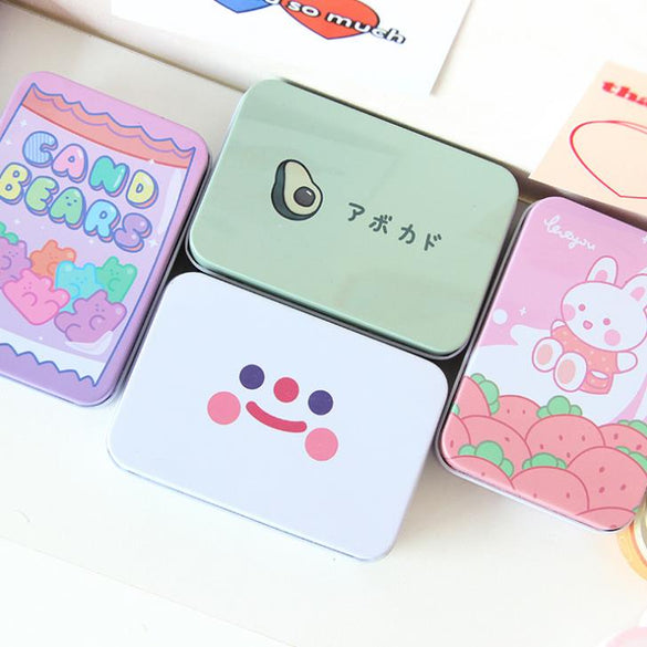 1 Pcs Cute Korean Stationery Avocado Rabbit Bear Flower Square Metal Washi Tape Jewelry Storage Box Desk Organizer Card Holders
