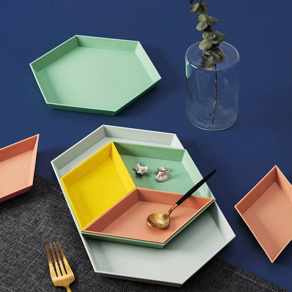 Nordic Style Storage Tray Polygon Desktop Combination Tray Geometric Fruit Snacks Dish Plate Afternoon Tea Tableware Plate 1Set