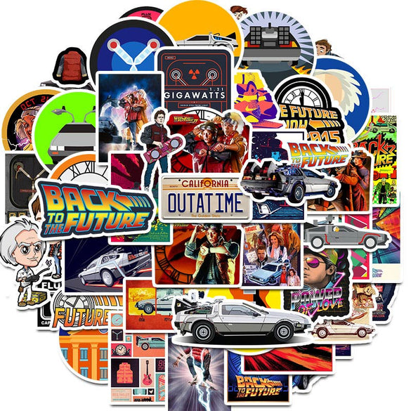 50Pcs Movie Back To The Future Stickers Pack For On The Laptop Fridge Phone Skateboard Travel Suitcase Sticker (Back To The Future)