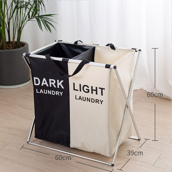 Foldable Laundry Basket Organizer For Dirty Clothes Laundry Hamper large sorter Two Or Three Grids Collapsible Folding Basket