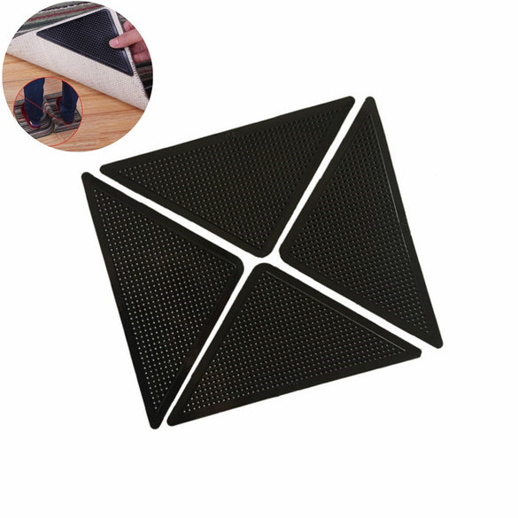 4Pcs Home Floor Rug Carpet Mat Grippers Self-adhesive Anti Slip Tri Sticker Reusable Washable Silicone Grip Car Perfume Pad