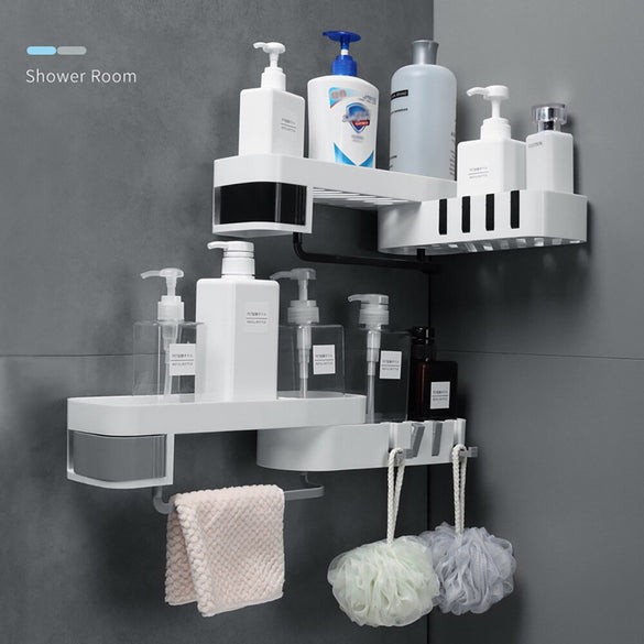 1 Pcs Corner Shower Shelf Bathroom Shampoo Shower Shelf Holder Kitchen Nail-Free Storage Rack Organizer Wall Mounted Rack