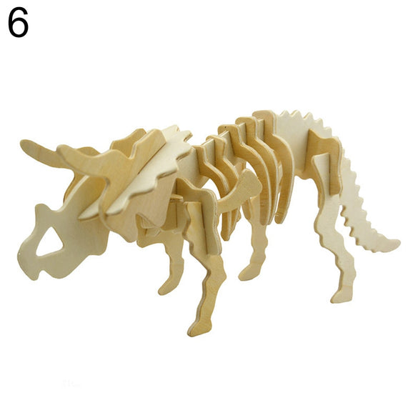 Kids 3D Dinosaur Puzzle Funny 3D Simulation Dinosaur Skeleton Puzzle DIY Wooden Educational Toy for Kids Gift