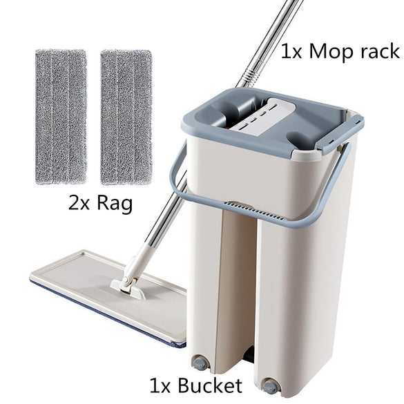 Floor Mop Set Automatic Mop And Bucket Avoid Hand Washing Microfiber Cleaning Cloth Flat Squeeze Magic Wooden Floor Lazy Mop