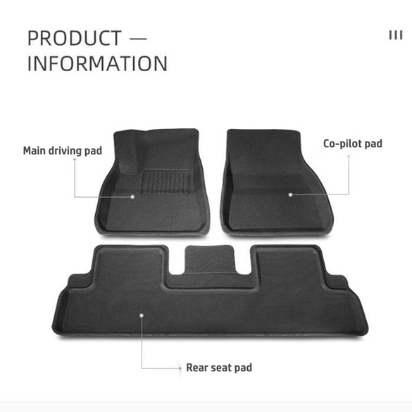 Fully surrounded special foot pad For Tesla Model 3 car waterproof non-slip floor mat TPE XPE modified accessories