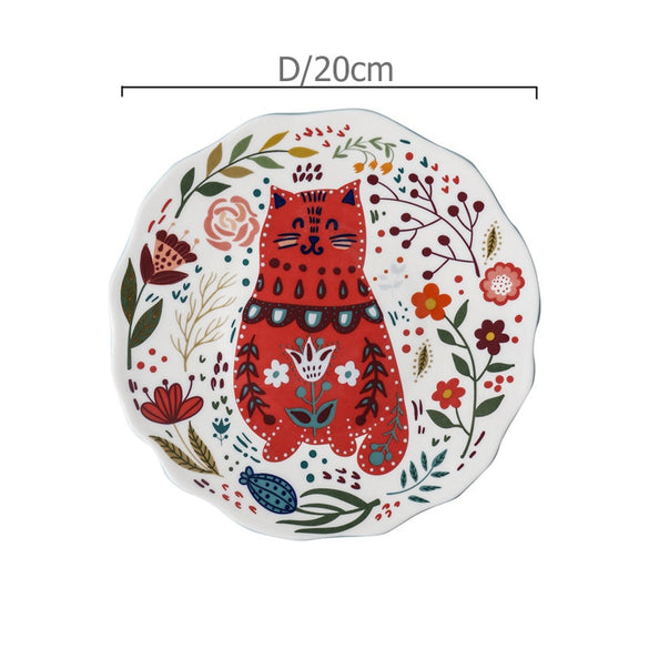 8 inch Colorful Cat Dinner Plate Under-glazed Ceramic Dinner Dishes Dessert Tray Flower Kitten Dinnerware Microwave Safe
