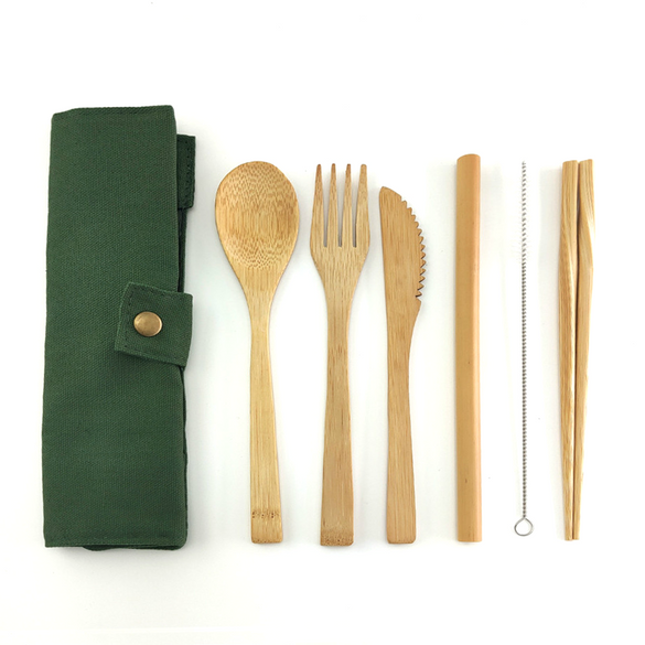 Bamboo Cutlery Set Travel Cutlery Set Eco Friendly Flatware Set Knife, Fork, Spoon and Straw Wooden Cutlery Set Camping Cutlery