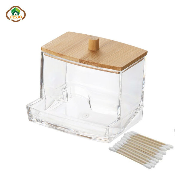 MSJO Makeup Organizer Box Storage Cosmetices Cotton Pads Swab Bamboo Cover for Women Home Bathroom  Organizador Makeup Boxes Bin