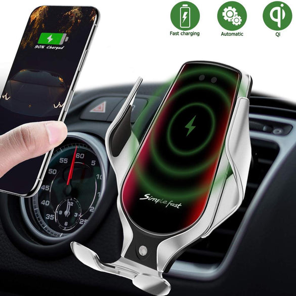 Wireless Charger in Car Auto-Clamping Air Vent Phone Holder 10W Qi Fast Car Charging Mount For iPhone 11 Phone Charger Dropship