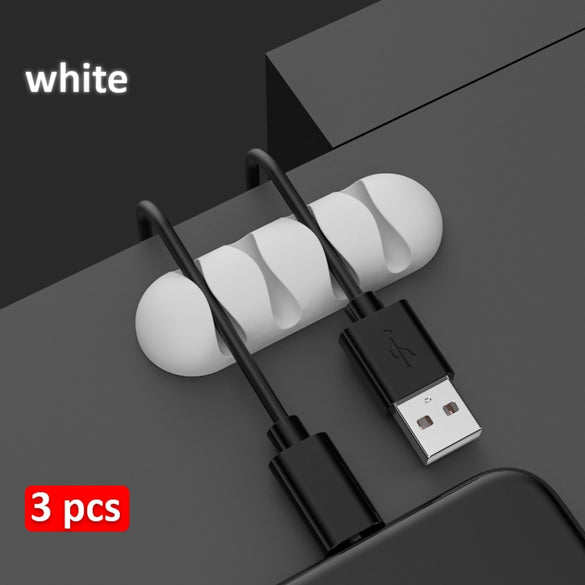 3 pcs USB Cable Holder On Table Earphone Cable Fixer Charging Wire Organizer Soft Silicone Cable Clip with Adhesive Back