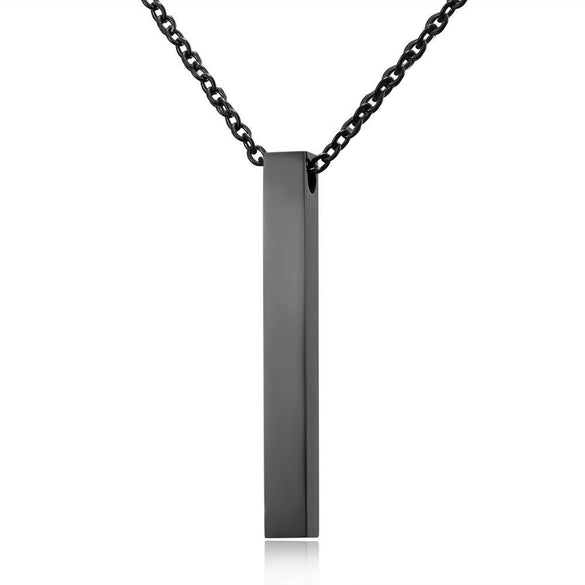 Rinhoo Four Sides Engraving Personalized Square Bar Custom Name Necklace Stainless Steel Pendant For Women/Men Birthday Gift
