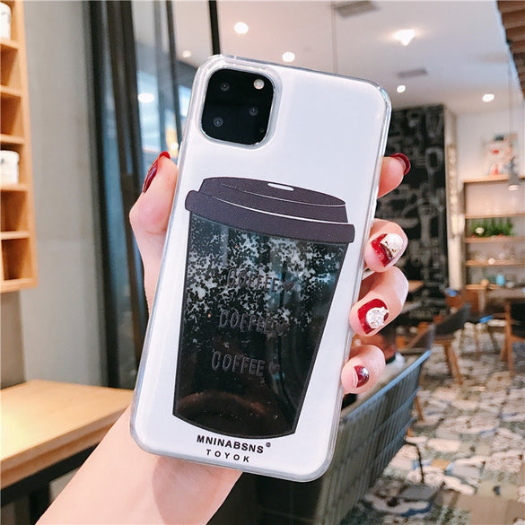 SUYACS Phone Case For iPhone X XR XS Max  6 6S 7 8 Plus Hot Liquid Quicksand Coffee Soft TPU Full Body Phone Back Cover Coque