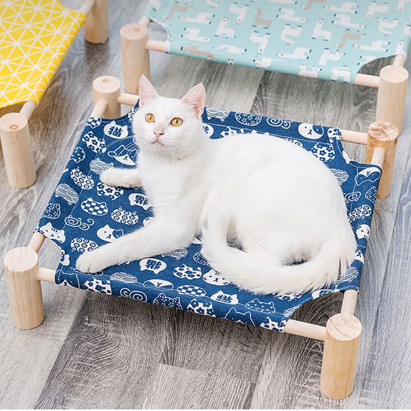 Elevated Cat Bed House Cat Hammocks Bed Wood Canvas Cat Lounge Bed for Small Dogs Rabbit Cats Durable Canvas Pet House Supplies