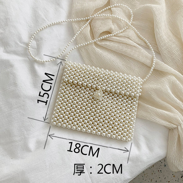 Handwoven Pearl Mini Crossbody Purse