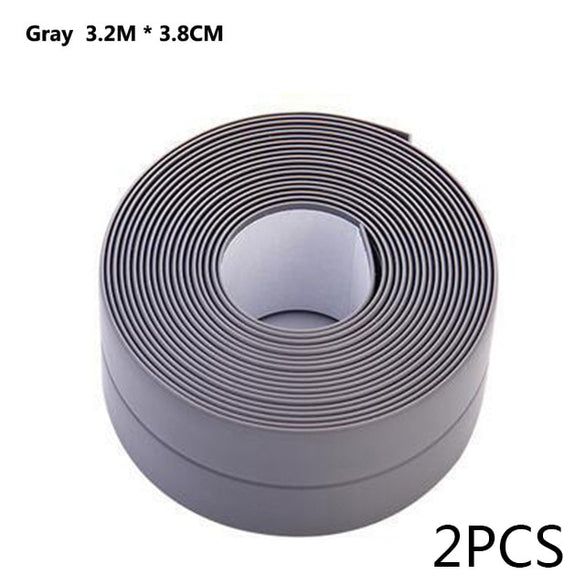 2pcs PVC Adhesive Tape Durable Use 1 ROLL Kitchen Bathroom Wall Sealing Tape Gadgets Waterproof Mold Proof 3.2mx3.8cm/2.2cm