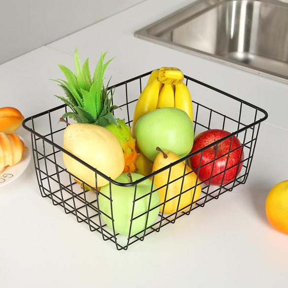Iron Art Wire Wrought Storage Basket Household Desktop Metal Organizer Holder Bathroom Kitchen Toy Fruit Sundries Container