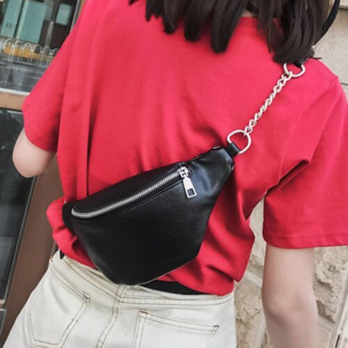 2020 Womens Waist Bag Fanny Pack PU Bag Belt Purse Small Purse Phone Key Pouch White Black Waist Packs