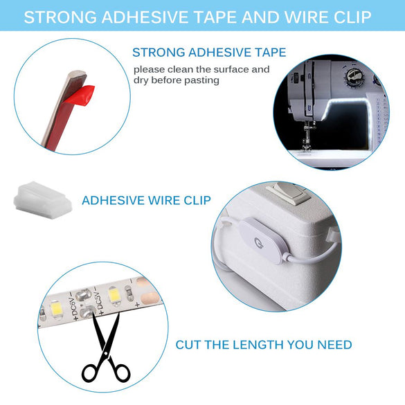 Sewing Machine LED Light Strip Light Kit DC 5V Flexible USB Sewing Light Industrial Machine Working LED Lights