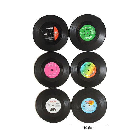 Vinyl Record Table Mats Drink Coaster Table Placemats Creative Coffee Mug Cup Coasters 2 4 6 PCS Heat-resistant Nonslip Pads