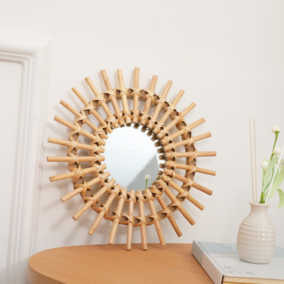 Compact Wall Hanging Mirror Clear Round Space Saving Rattan Dressing Mirror Portable Interior Gifts Art Decor Living Room Home