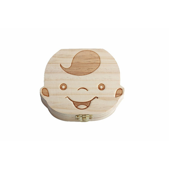 Spanish English  baby Creative Gift Wood Baby Girl Boy Tooth Organizer Boxes Save Deciduous Teeth Storage Keepsakes Collecting