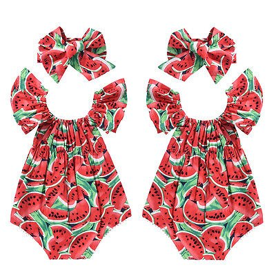 2017 Summer Toddler Girls Watermelon Sleeveless Cotton Rompers Jumpsuit Outfit Sunsuit Clothes