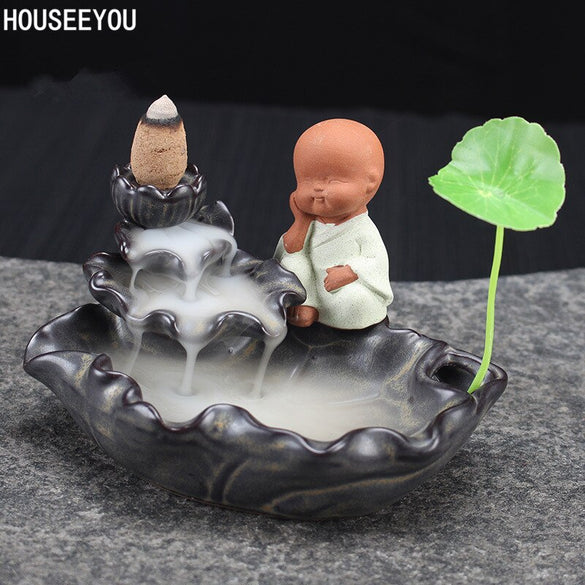 Little Monk Backflow Incense Burner Home Decoration Creative Ceramic Cone Waterfall Incense Holder Buddhist Censer + 10pcs Cones