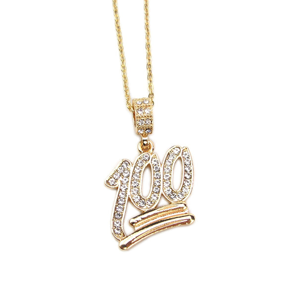 2018 Fashion Simple Hollow Necklace Gold Full White Rhinestone 100 Points Pendant Jewelry Student Bling Necklaces Jewelry Gift (N002)