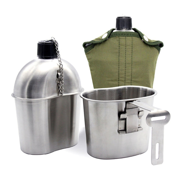 0.5L 1L Stainless Steel Military Canteen Portable Cup Green Cover Camping Hiking Army Camping Picnic Tableware Travel Accessorie