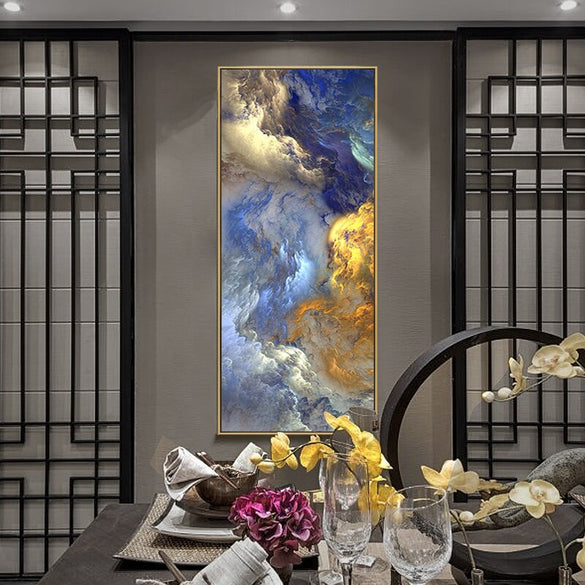 WANGART Abstract Colors Unreal Canvas Poster Blue Landscape Wall Art Painting Living Room Wall Hanging Modern Art Print Painted