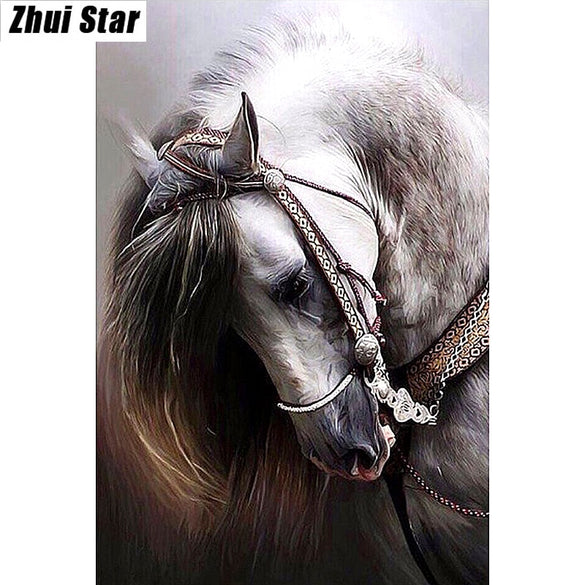"Full Square Diamond 5D DIY Diamond Painting ""horse"" Embroidery Cross Stitch Rhinestone Mosaic Painting Decor Gift"