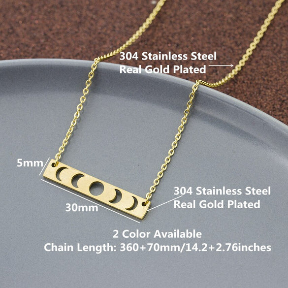 Sun Moon Phase Lunar Eclipse Necklaces For Women Vintage Jewelry Stainless Steel Chain Choker Statement Necklace Collier Bijoux