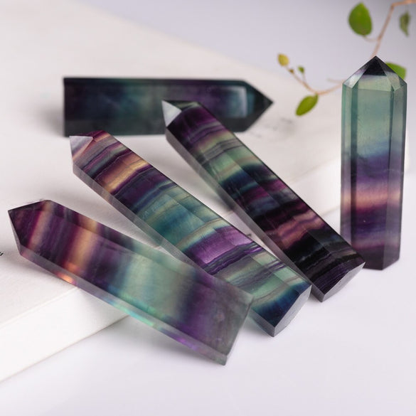 Natural Fluorite Crystal Colorful Striped Fluorite 4-6.5CM Quartz Crystal Stone Point Healing Hexagonal Wand Treatment Stone