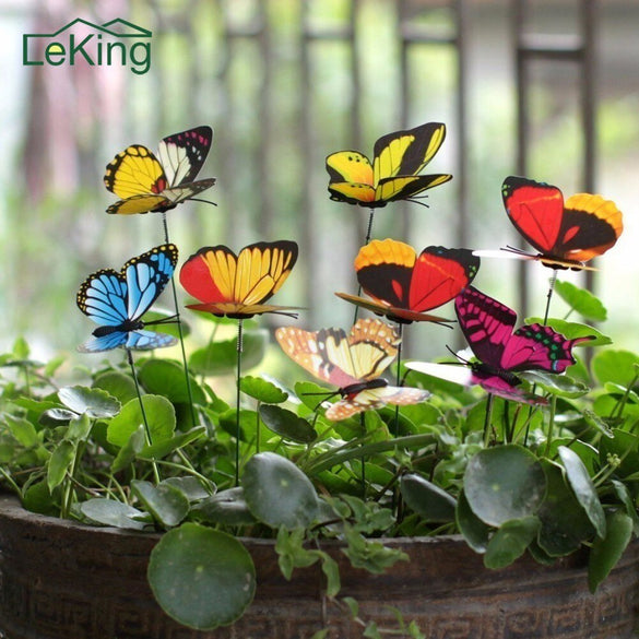 25Pcs Colorful 3D Double Layer Butterfly On Sticks Home Yard Lawn Flowerpot Plant Decoration Garden Ornament DIY Lawn Craft
