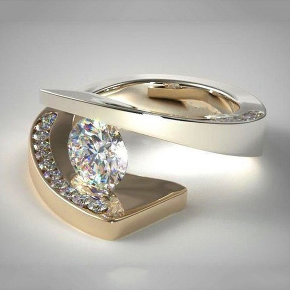 Luxury Male Female Big Crystal Stone Ring 18KT Yellow Gold Wedding Jewelry Promise Engagement Rings For Men And Women